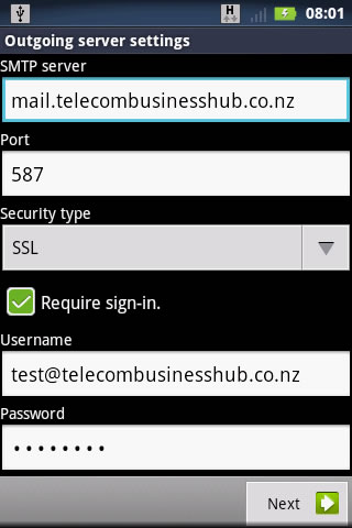 Check Business Mail (POP) settings - Motorola Defy XT | Spark NZ