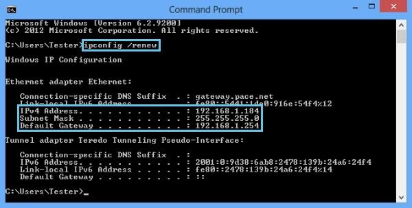 Type ipconfig release press enter type ipconfig renew p ress enter