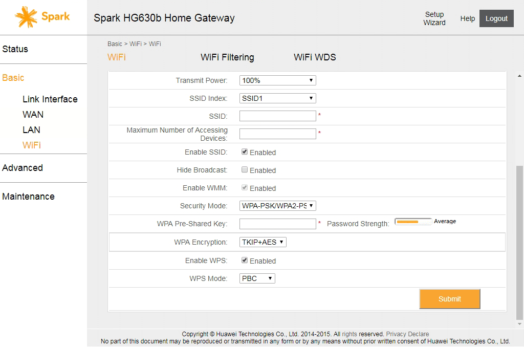 Image of Huawei HG630b modem interface when changing WiFi SSID and password