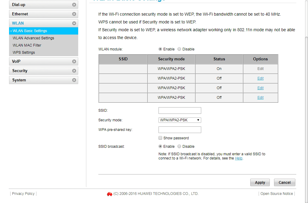 Image updating WiFi network name and password on Huawei B315s