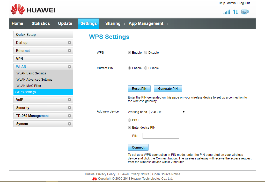 Image showing WPS Settings configuration on modem interface