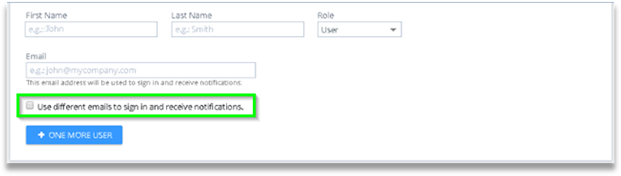 Optional checkbox to use differnt email for user sign and notifications