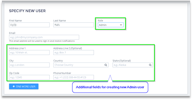Additional fields for users assigned to Admin roles