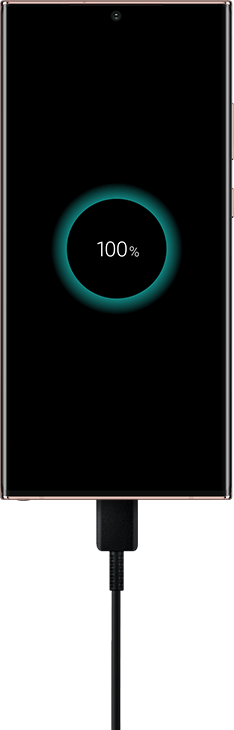 A vivid outline of the Samsung Note20 ultra mobile phone, highlighted and contrasting a black background. Screen displays is also in black, showing a 100% charge icon, in an eclipse like halo glow. Visually representing both; mystical energy as well as, an out of this world battery performance.
