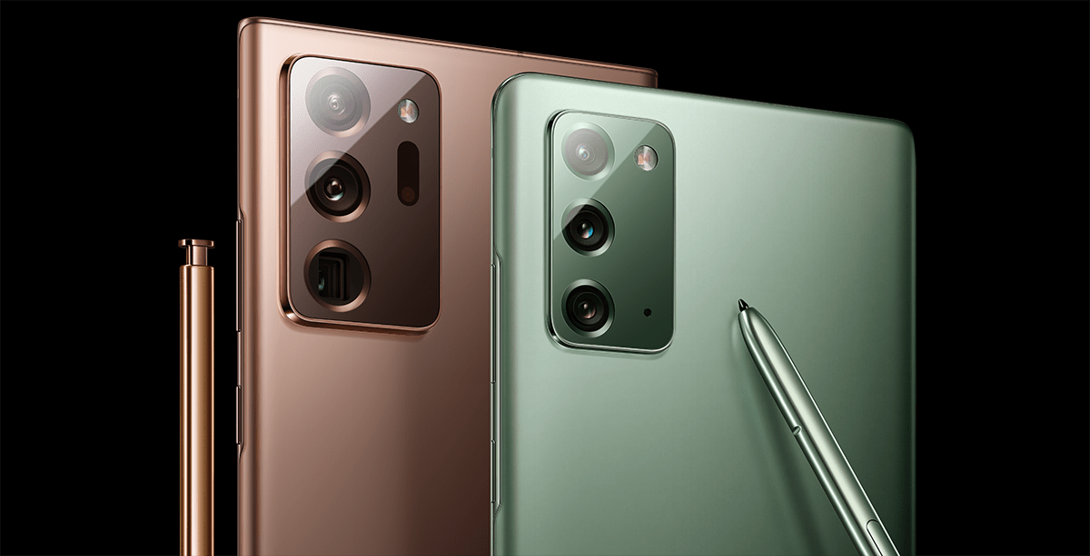 Samsung Galaxy Note20 and Note20 Ultra smartphones for New Zealand, hero image. Displaying two of 5 colours, Mystic bronze, and Mystic green colour, paired with matching Samsung S pen. Devices are highlighted overlaying a black background.