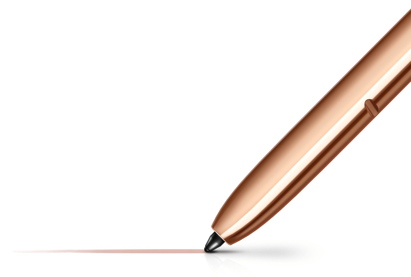 A close-up look of a Samsung Note20's Mystic gold S pen's tip overlaying a hyper white background, drawing a feathered line. A smart pen with incredible connectivity capabilities.