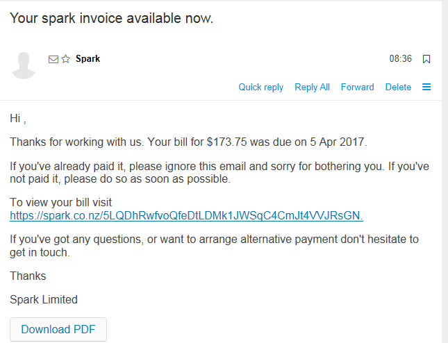 Fake Spark invoice email