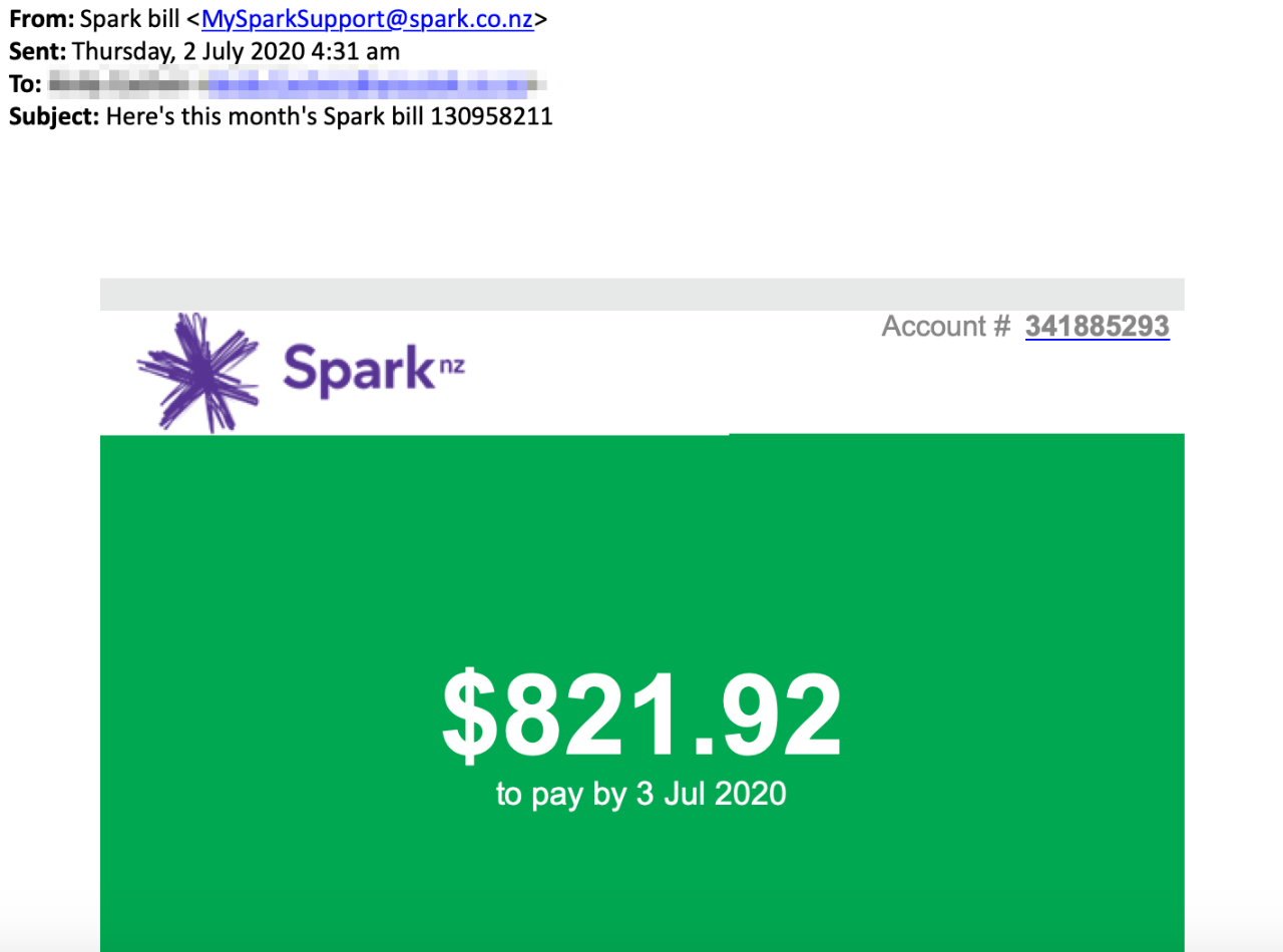 "Scam email with subject line ""Here's this month's Spark bill 130958211"""