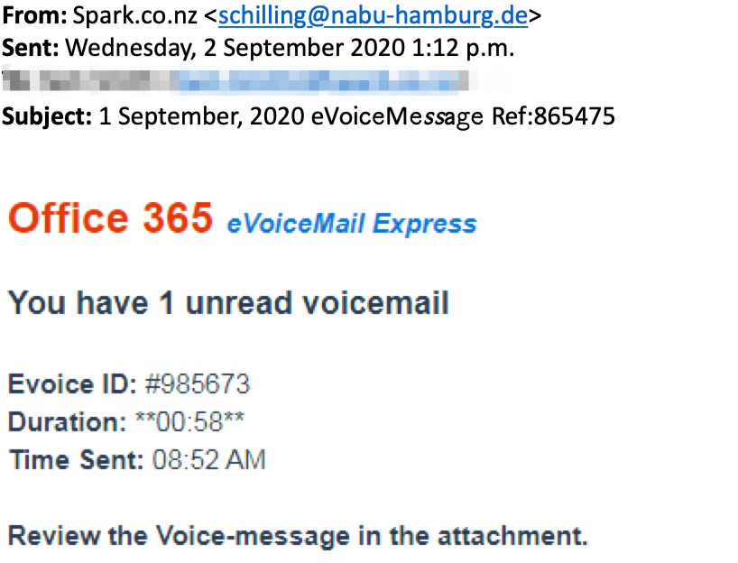 "Scam email with subject line ""1 September, 2020 eVoiceMessage Ref:865475"""